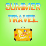 Summer Travel. Suitcase with stickers Royalty Free Stock Images