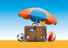 Summer travel suitcase. Vector illustration of vintage summer travel suitcase Stock Photos