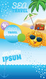 Summer travel template with sun Royalty Free Stock Photo