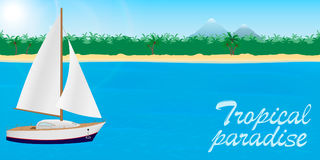 Summer travel to tropical paradise banner or desktop wallpaper. Sailboat on a tropical island background with lettering. Royalty Free Stock Image