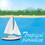 Summer travel to tropical paradise. Sail yacht ona blue sea and a sand beach with palm trees and mountains. Royalty Free Stock Photography