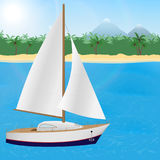 Summer travel to tropical paradise. Sailboat on a tropical island background. Royalty Free Stock Image