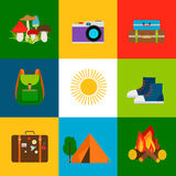 Summer travel and tourism icons vector illustration