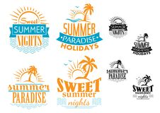 Summer, travel and vacation badges Royalty Free Stock Photo