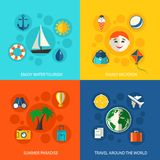 Summer travel vacation concept. Flat icons set of water tourism family trip tropical paradise and around the world flight for infographics design web elements Stock Image