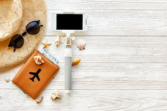 Summer travel vacation concept flat lay, space for text. selfie stock images