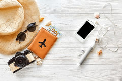 Summer travel vacation concept flat lay, space for text. selfie