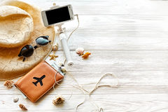 Summer travel vacation concept, space for text. selfie stick pho Royalty Free Stock Photos