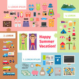 Summer travel and vacation elements Stock Photography