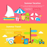 Summer Travel Vacation Flat Website Banners Set. Vector Illustration for Website banner and landing page. Summertime and Beach Resort Modern Design Royalty Free Stock Photos
