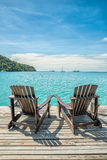 Summer, Travel, Vacation and Holiday concept - Beach chair on th Royalty Free Stock Image