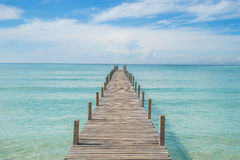 Summer, Travel, Vacation and Holiday concept - Wooden pier in Ph. Uket, Thailand Royalty Free Stock Photos
