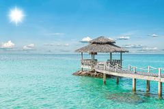Summer, Travel, Vacation and Holiday concept - Wooden pier in Ph. Uket, Thailand Stock Photography