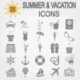 Summer, travel and vacation icon set Royalty Free Stock Photo