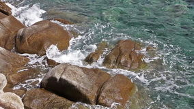 Summer Travel Vacation Sea. Seascape and rocks shore, beautiful turquoise sea on the summer day stock video footage