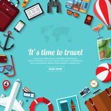 Summer travel, vacation, tourism, adventure, journey flat vector background. With icons of airplane, travel objects and passenger luggage. Place for text Royalty Free Stock Photography