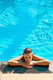 Summer Travel Vacation. Woman Relaxing In Pool. Healthy Lifestyl Royalty Free Stock Images
