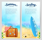 Summer travel vector banners set with travelers suitcase, red striped hat and surfing board on sandy beach background Royalty Free Stock Photos
