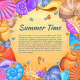 Summer travel vector card with cartoon sea shell border. Summer time banner with shell frame and beach sand illustration Royalty Free Stock Photography