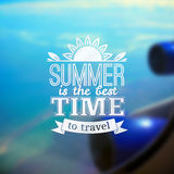 Summer travel vector typography design on blurred Stock Photo