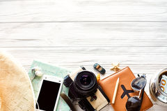 Summer travel wanderlust concept, space for text, flat lay. map Royalty Free Stock Photos