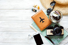 Summer travel wanderlust concept, space for text, flat lay. map Royalty Free Stock Image