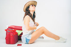 Summer travel. Woman with big luggage. Stock Images
