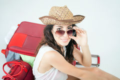 Summer travel. Woman with big luggage. Stock Image