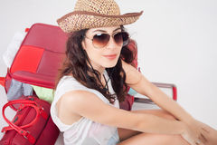 Summer travel. Woman with big luggage. Royalty Free Stock Photos