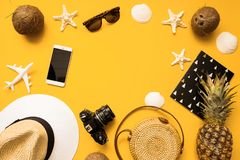 Summer traveler accessories flat lay. Straw hat, retro film camera, bamboo bag, sunglasses, coconut, pineapple, sea shells. And starfish, air plane, notebook stock image