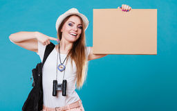 Summer traveler woman hitchhiking with blank sign Stock Photography