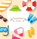 Summer Traveling Card with Beach Accessories Stock Photos
