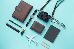 Summer traveling concept. Vacation accessories on blue background. Summer traveling concept. Vacation accessories on blue background stock images