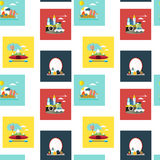 Summer traveling icons set. Seamless icons set of different kinds of vacation concept in flat design over white background Royalty Free Stock Image