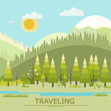 Summer Traveling Vector Illustration. Landscape  Royalty Free Stock Photo