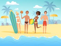 Summer travellers. Male and female happy people playing at the summer sunshine beach near ocean or sea vector background vector illustration