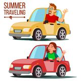 Summer Travelling By Car Vector. Male, Female. Girl And Boy In Summer Vacation. Driving Machine. Rides In The Car. Road. Trip. Side View. Isolated Cartoon royalty free illustration