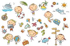 Summer and Travelling Set. Funny kids set, summer, travelling, vacations and seaside theme. No gradients used, easy to print and edit. Vector files can be scaled Stock Photo