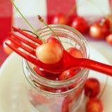 Summer treats.Rainier cherries. Summer rainier cherries in a glass bowl on a tablecloth. Sweet treats Stock Photo