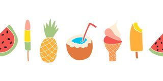 Summer treats seamless vector border. Repeating banner design with watermelon, popsicle, pineapple, coconut, ice cream royalty free illustration