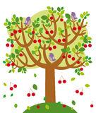 Summer tree. Illustration of summer cherry tree with birds stock illustration