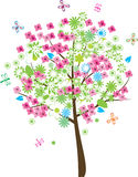 Summer tree. Floral tree with different insects Stock Photo