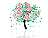 Summer tree. Vector illustration of blossom tree with falling leaves Royalty Free Stock Photography
