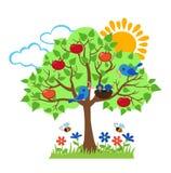 Summer tree, birds feed chicks, seasonal signs of summer. Stock Photos