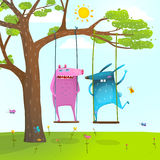 Summer tree friends animals monsters cute and funny swinging kids cartoon Royalty Free Stock Photo