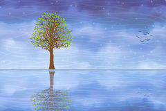 Summer tree reflecting in blue water stock illustration