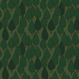 Summer tree seamless vector pattern. Dense green hand drawn forest. Background repeat texture Stock Photo