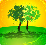 Summer tree on yellow-green background Royalty Free Stock Photo