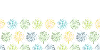 Summer trees colorful horizontal seamless pattern Stock Photo