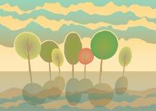 Summer trees in park. Vector landscape. Eps 10. Summer trees in park. Vector cartoon landscape Stock Photo
